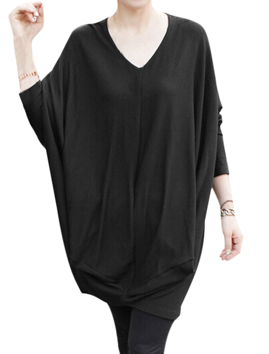 Women V Neck Batwing Sleeves Two Pockets Tunic Top Black S