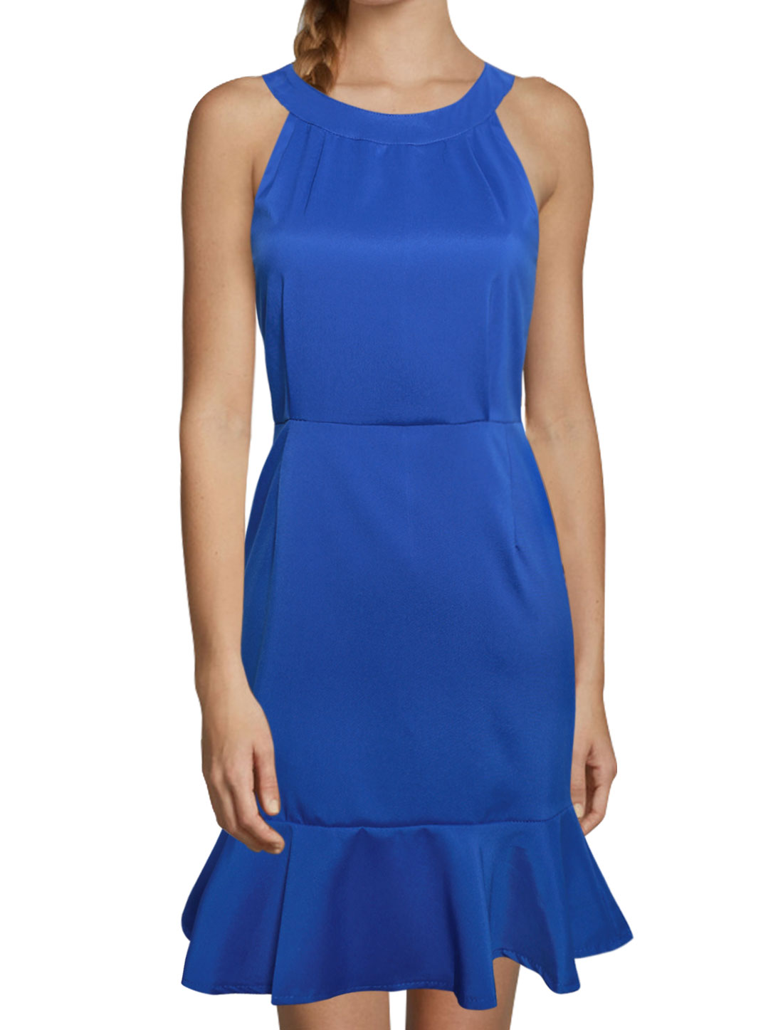 Women Sleeveless Ruffle Hem Halter Neck Sheath Dress Blue S
