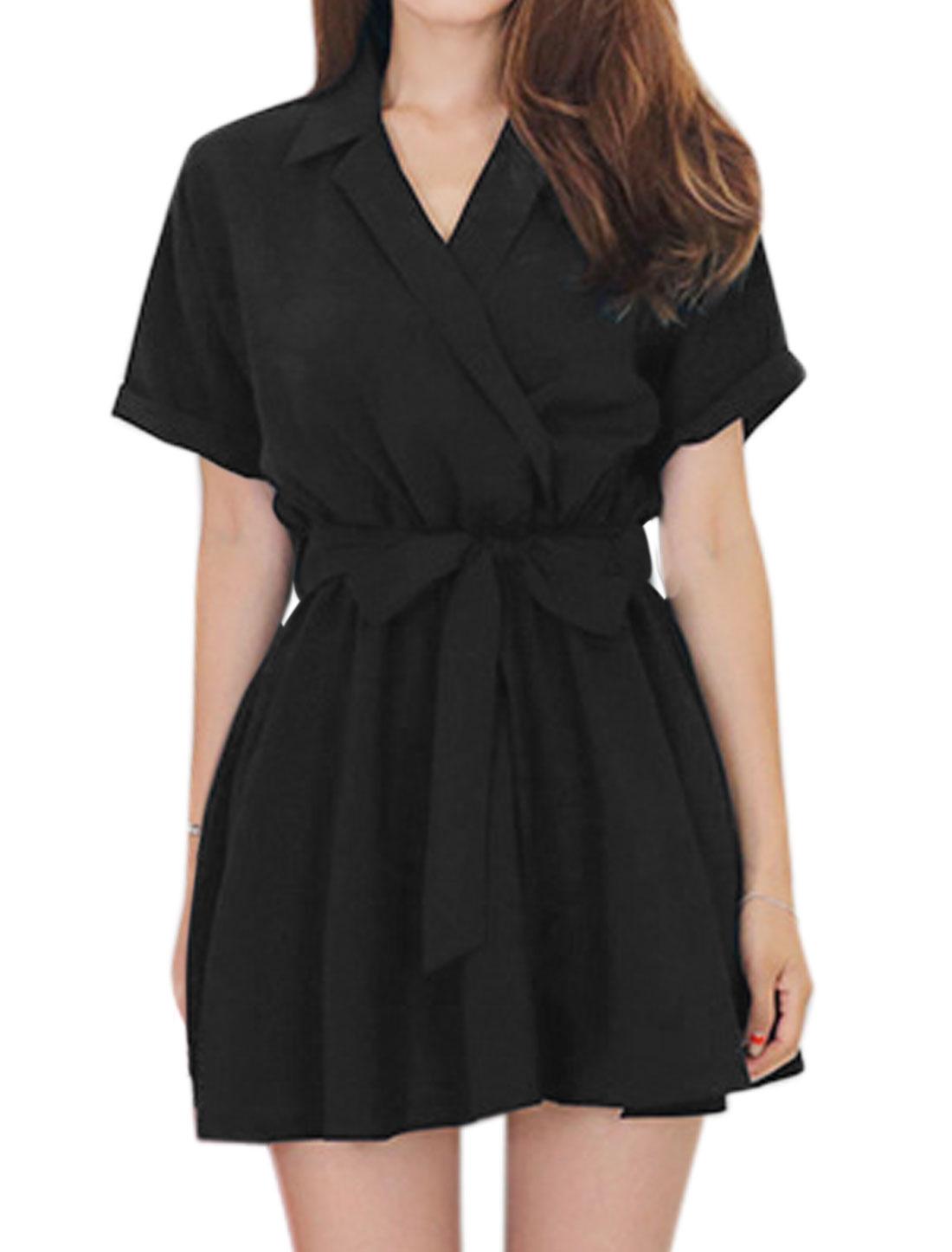 Women Turn Down Collar Elastic Waist Tunic Dress w Belt Black S