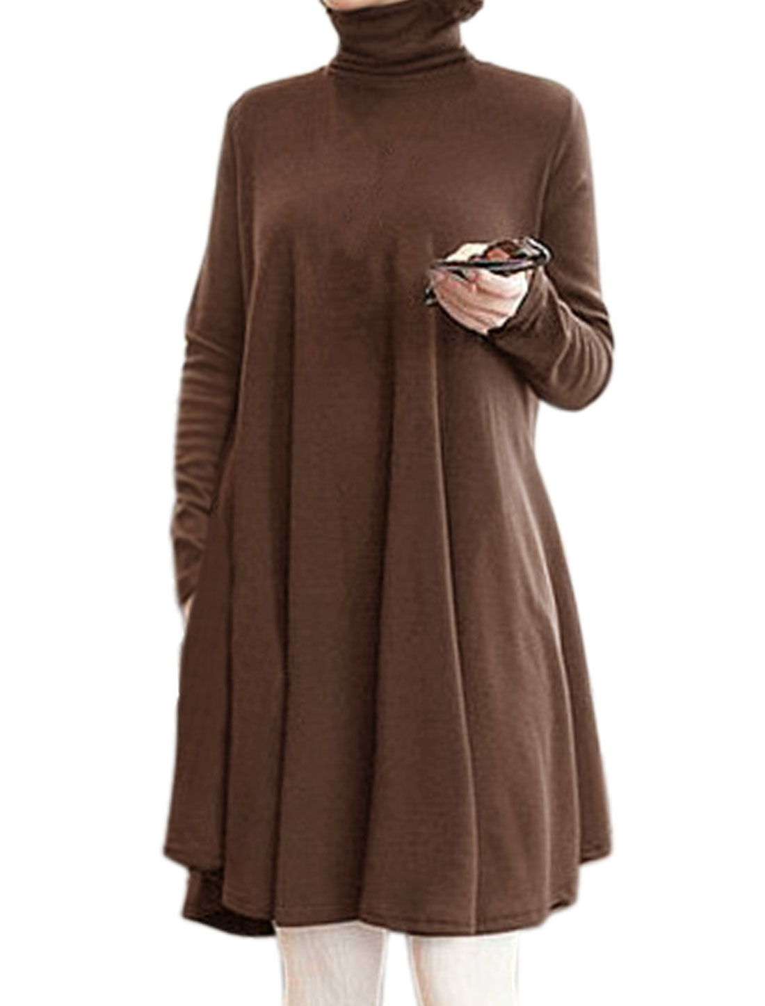 Women Turtle Neck Long Sleeves Loose Swing Dress Brown M