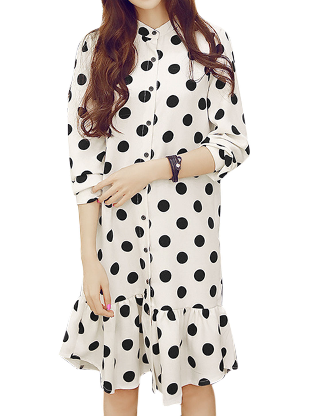 Women Long Sleeves Single Breasted Flouncing Hem Dots Prints Tunic Dress White M