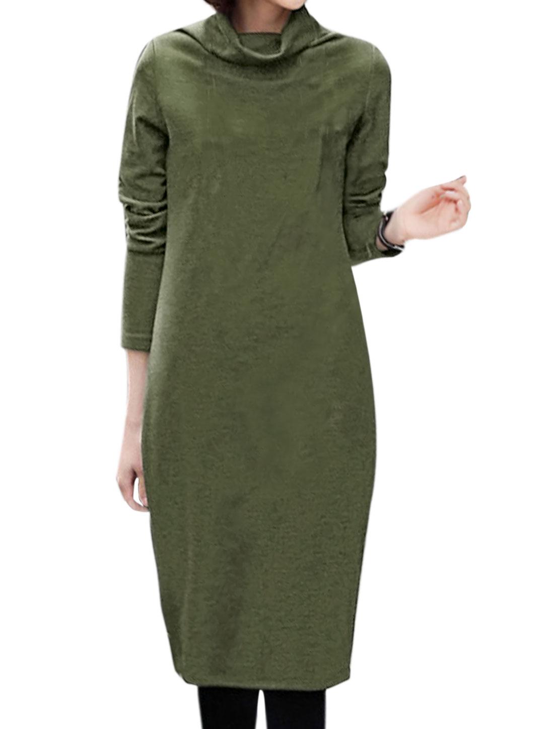 Women Cowl Neck Long Sleeves Slim Fit Knee Length Pullover Sheath Dress Green M