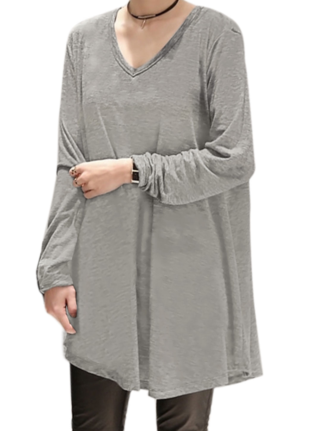 Ladies V Neck Long Sleeves Casual High Low Hem Loose Tunic Top Gray XS