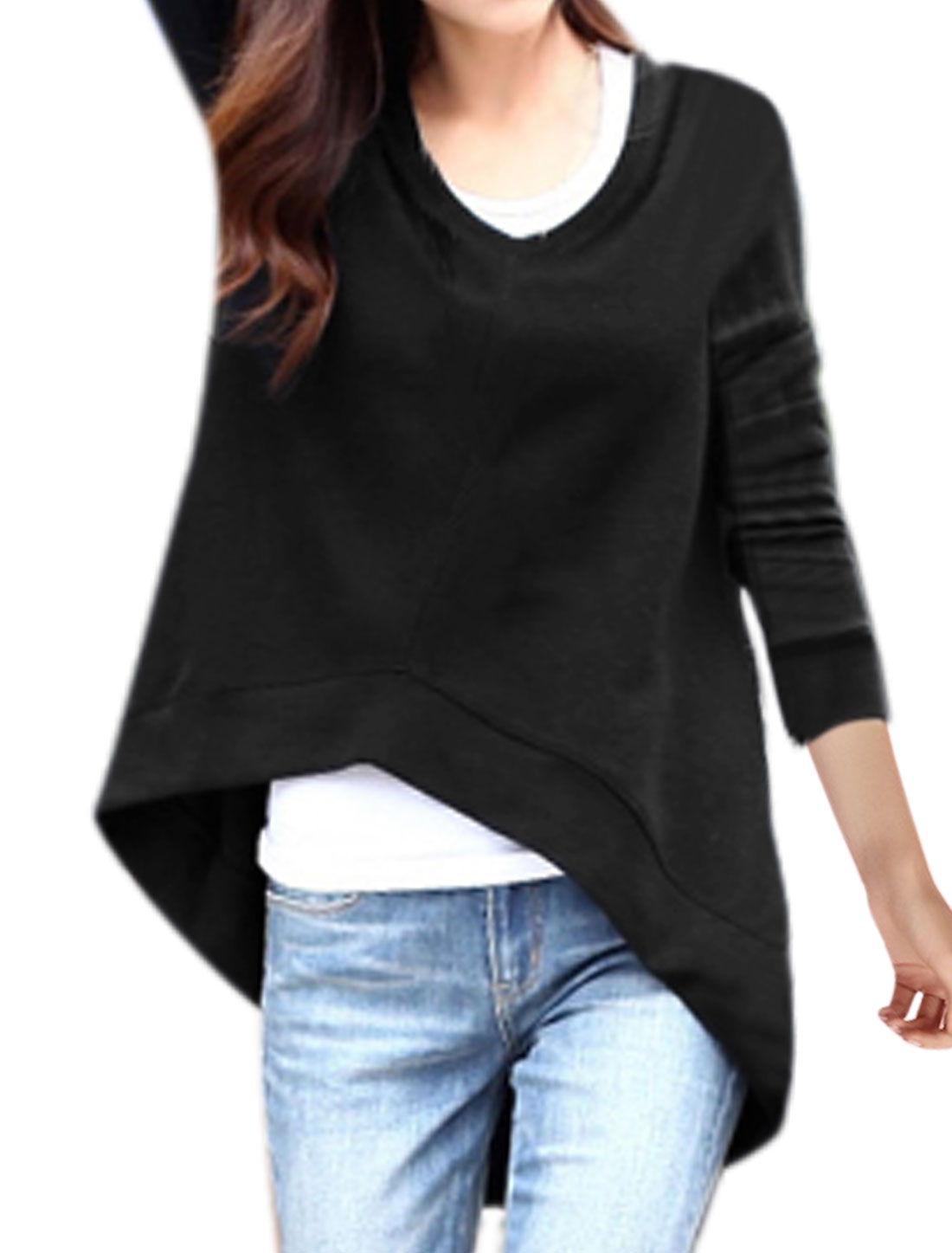 Women V Neck Long Sleeves Asymmetric Hem Tunic Top Black S