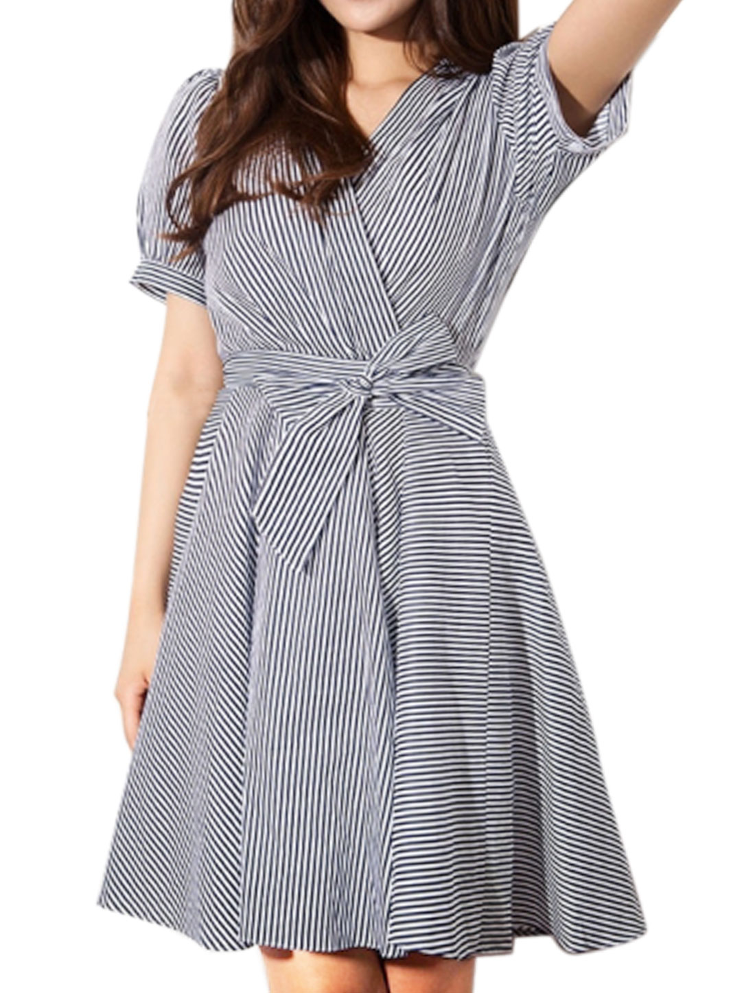 Ladies Crossover V Neck Short Sleeves Stripes Swing Dress w Belt Blue White S