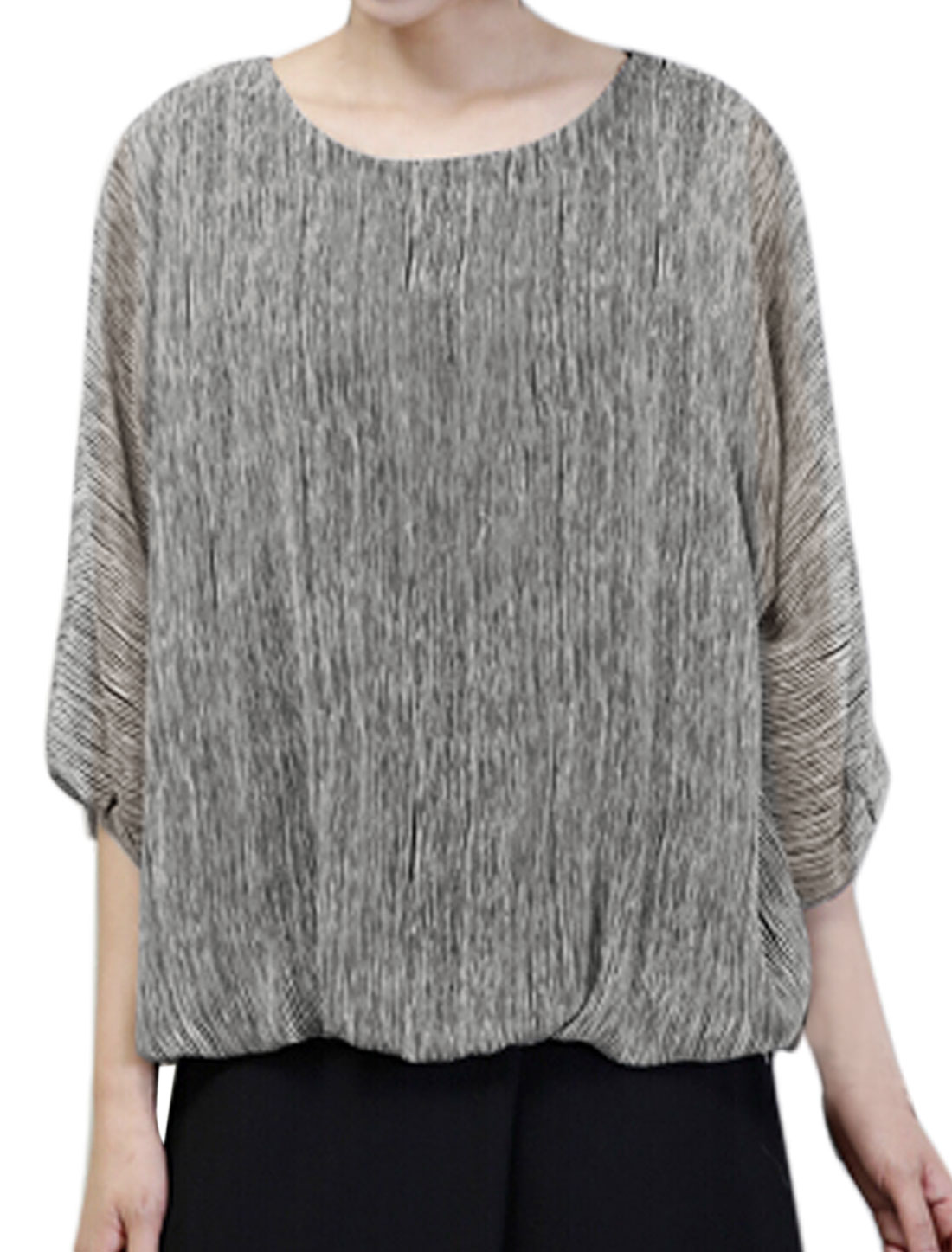 Women Round Neck Batwing Sleeves Stripes Prints Loose Blouse Gray Black XS
