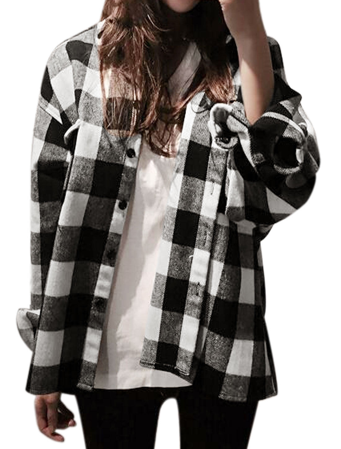 Women Point Collar Batwing Sleeves Plaids Shirt Jacket Black White XS