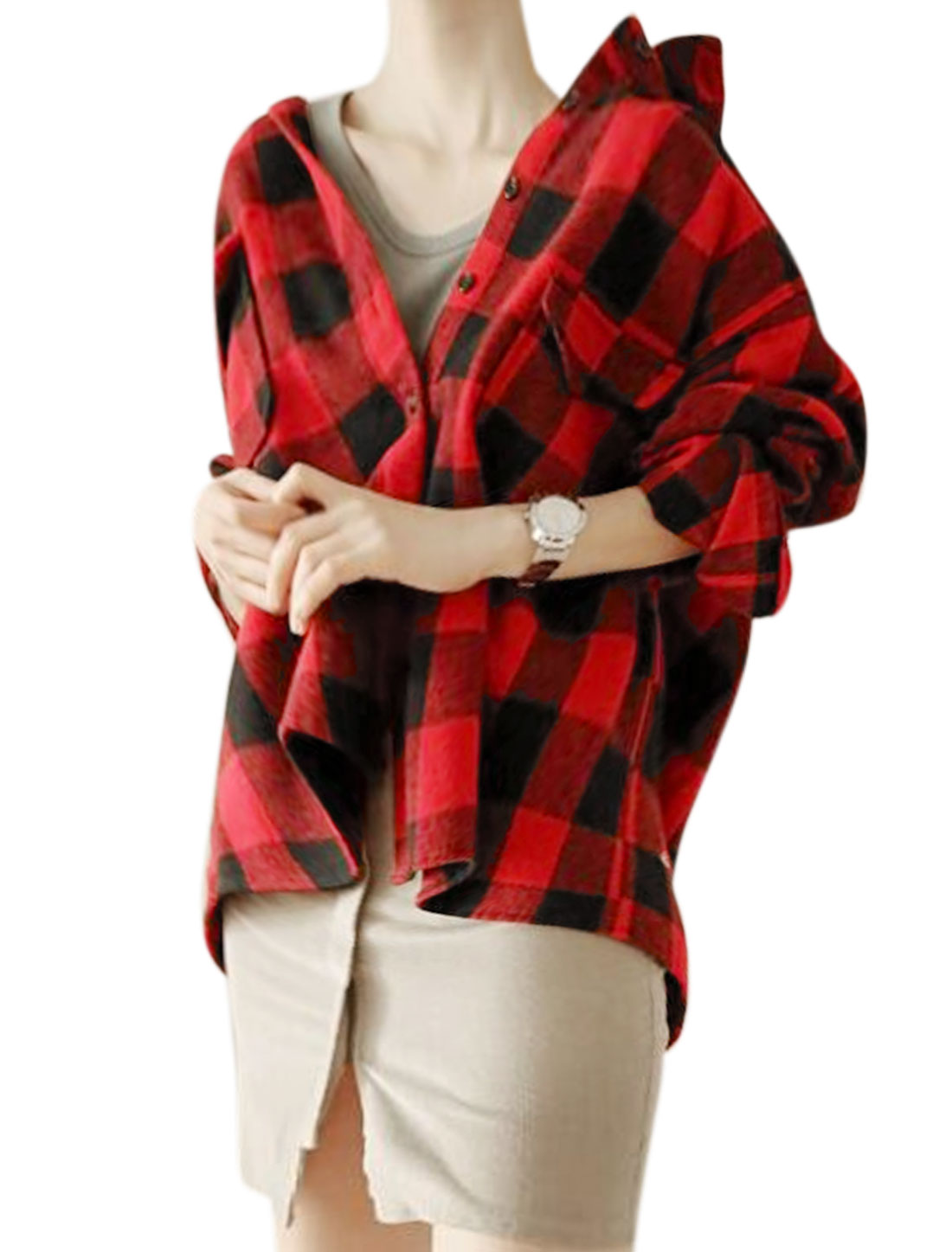 Women Long Sleeves Loose Two Pockets Plaids Print Shirt Jacket Red Black XS