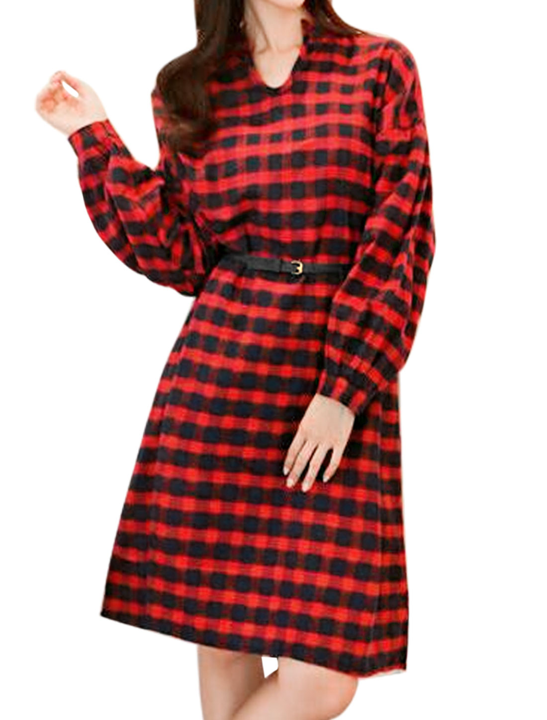 Lady Stand Collar Long Sleeves Plaids Loose Midi Dress w Belt Red M