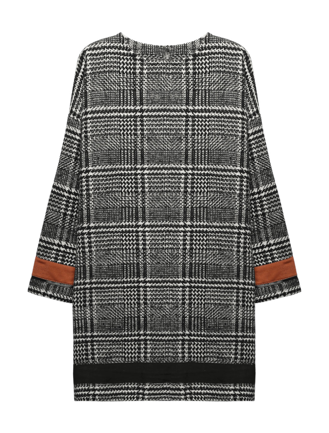 Women Crew Neck Long Sleeves Worsted Plaids Tunic Dress Black Beige S