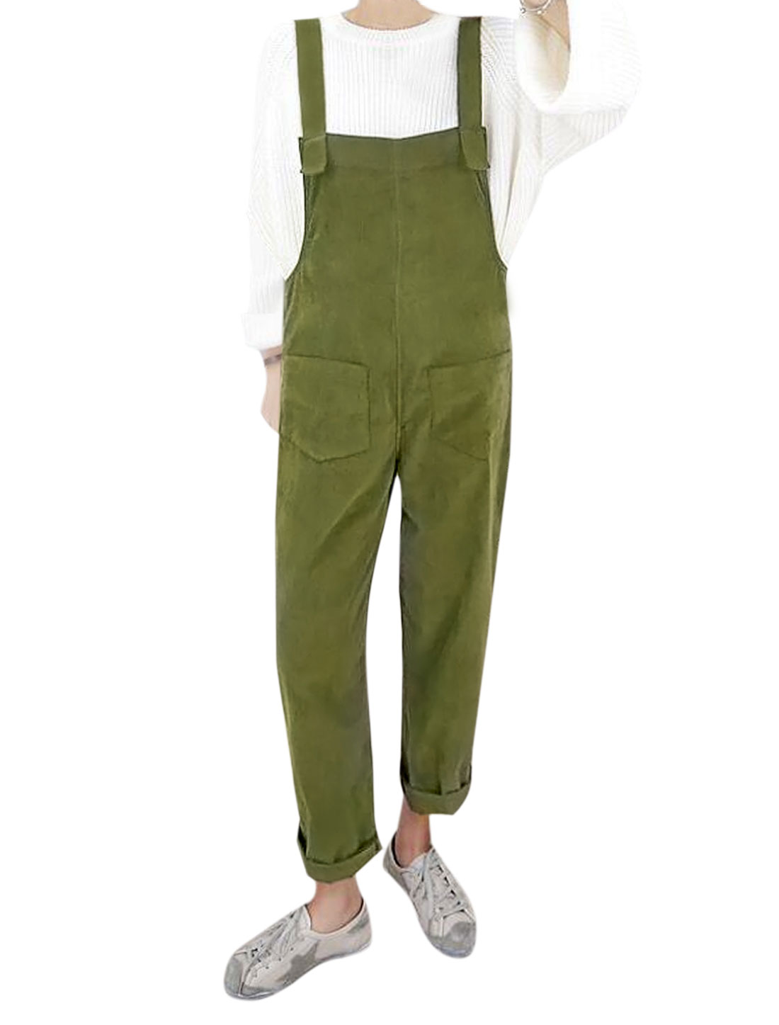 Women Button Closed Straps Two Front Pockets Suspender Pants Green S