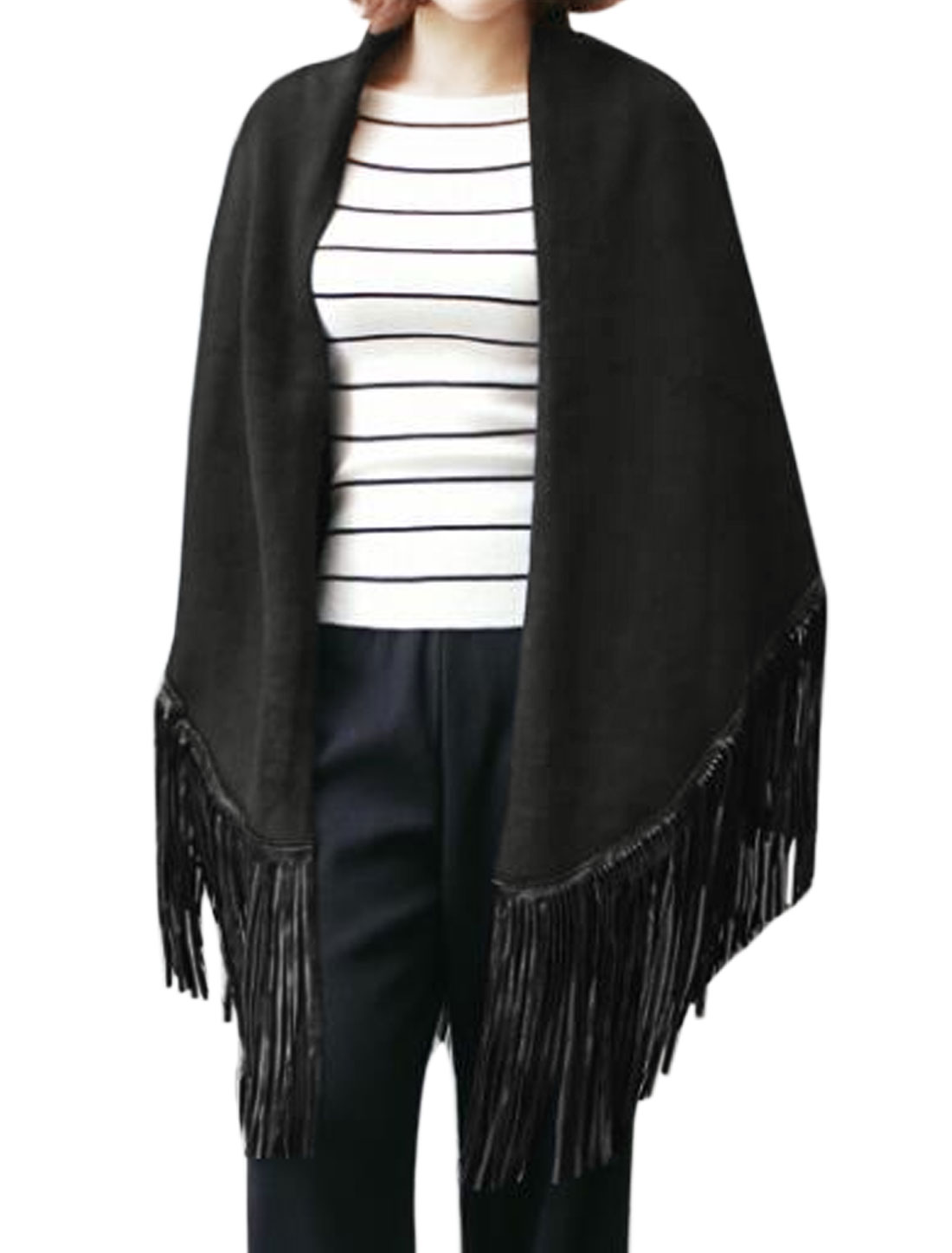 Women Fringing Hem PU Panel Casual Triangle Shawl Black XS