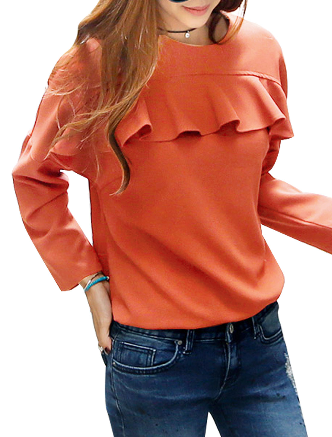 Women Crew Neck Long Batwing Sleeves Flouncing Trim Pullover Top Orange XS