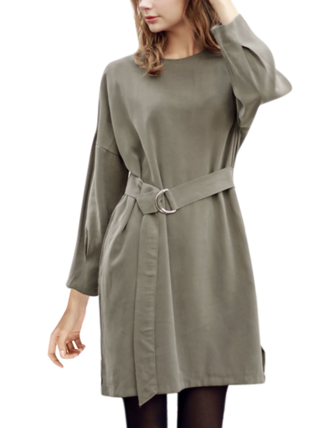 Women Crew Neck Long Sleeves Loose Tunic Dress w Belt Gray S