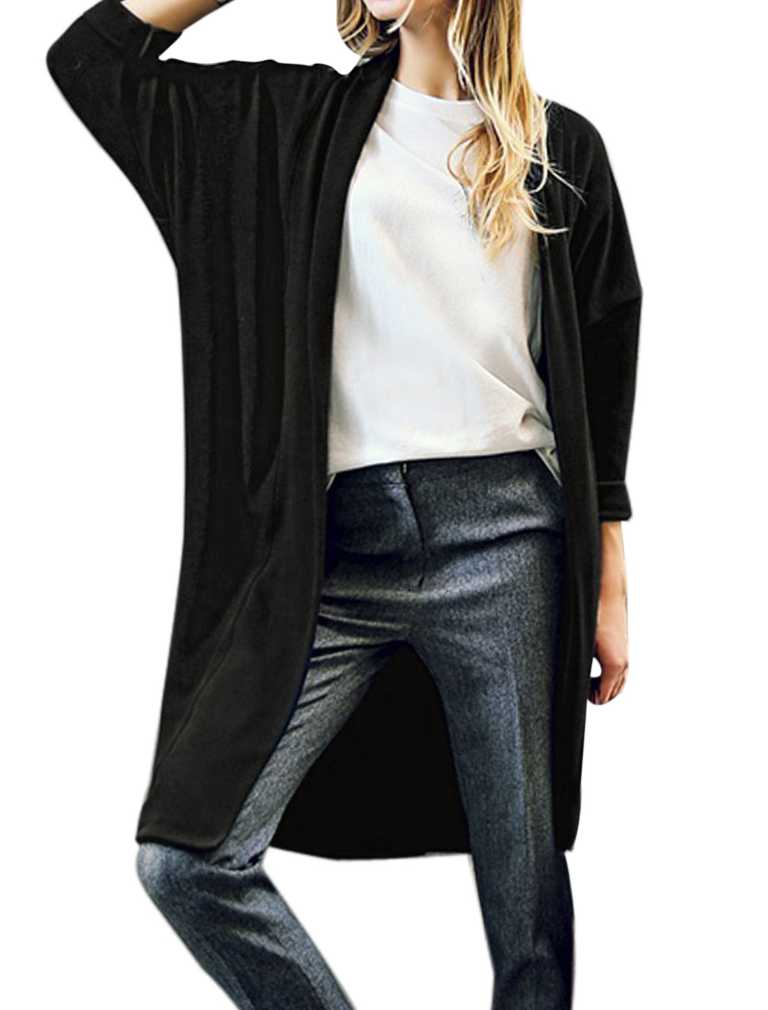 Women Shawl Collar Long Sleeves Front Opening Two Pockets Tunic Cardigan Black S