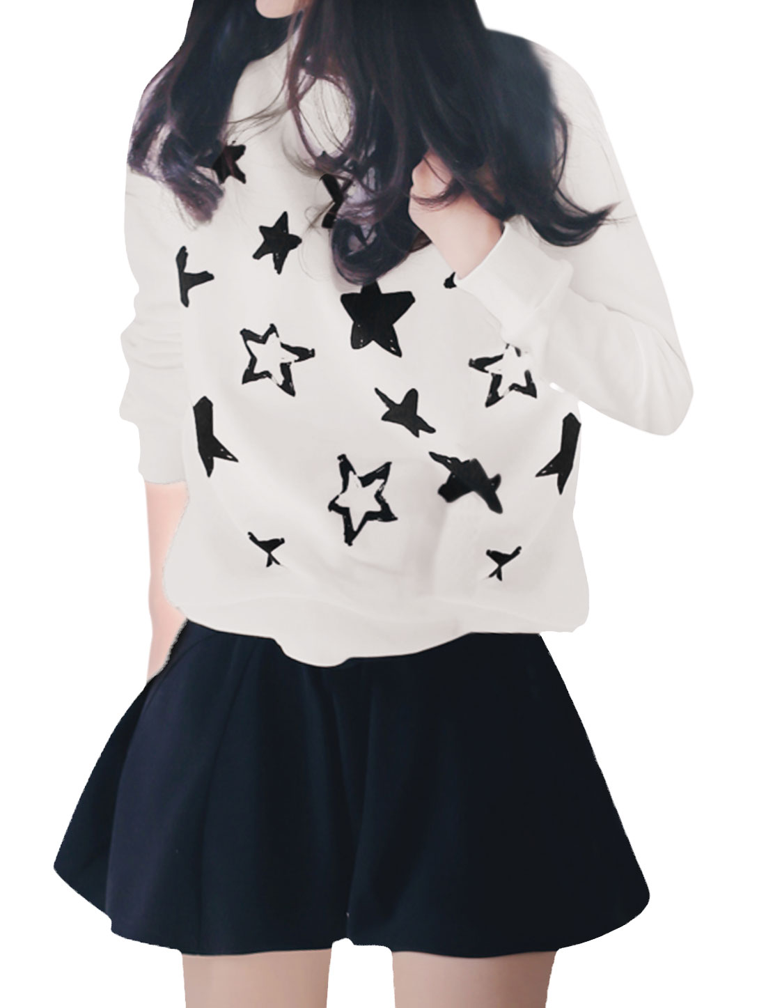 Women Crew Neck Raglan Sleeves Stars Pattern Sweatshirt White S