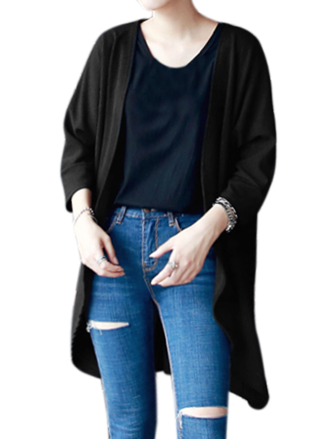 Women 3/4 Batwing Sleeves Front Opening Asymmetric Hem Tunic Cardigan Black XS