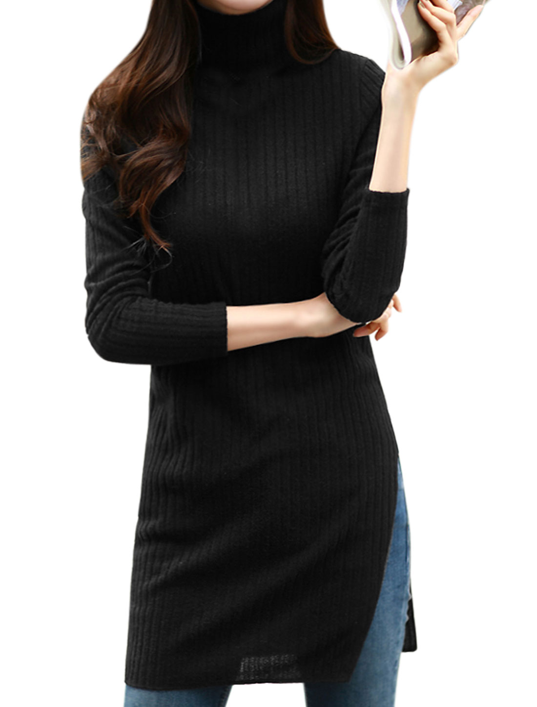 Women Turtle Neck Side Split Tunic Knit Shirt Black XS