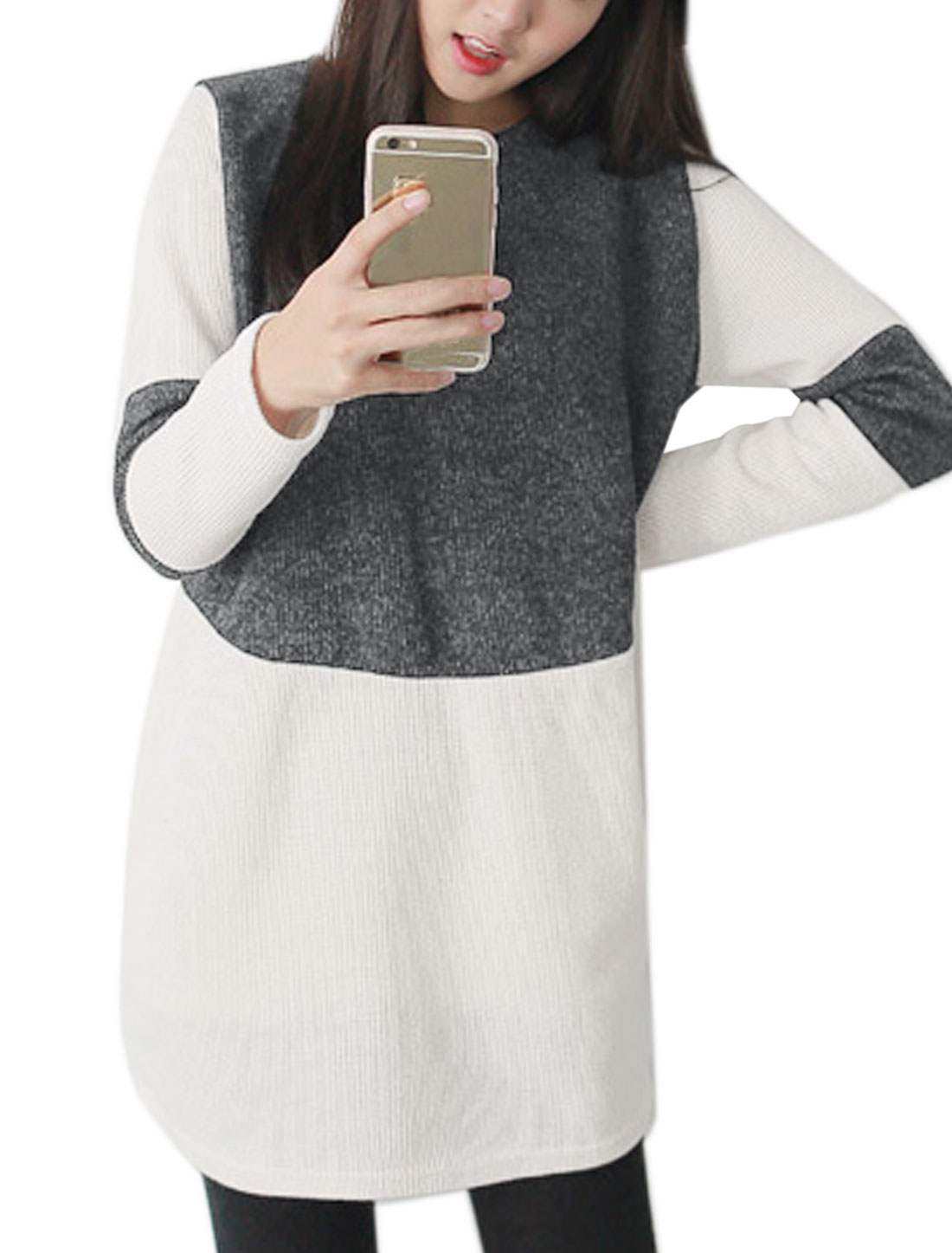 Women Crew Neck Long Sleeves Color Block Textured Tunic T-Shirt Gray White S