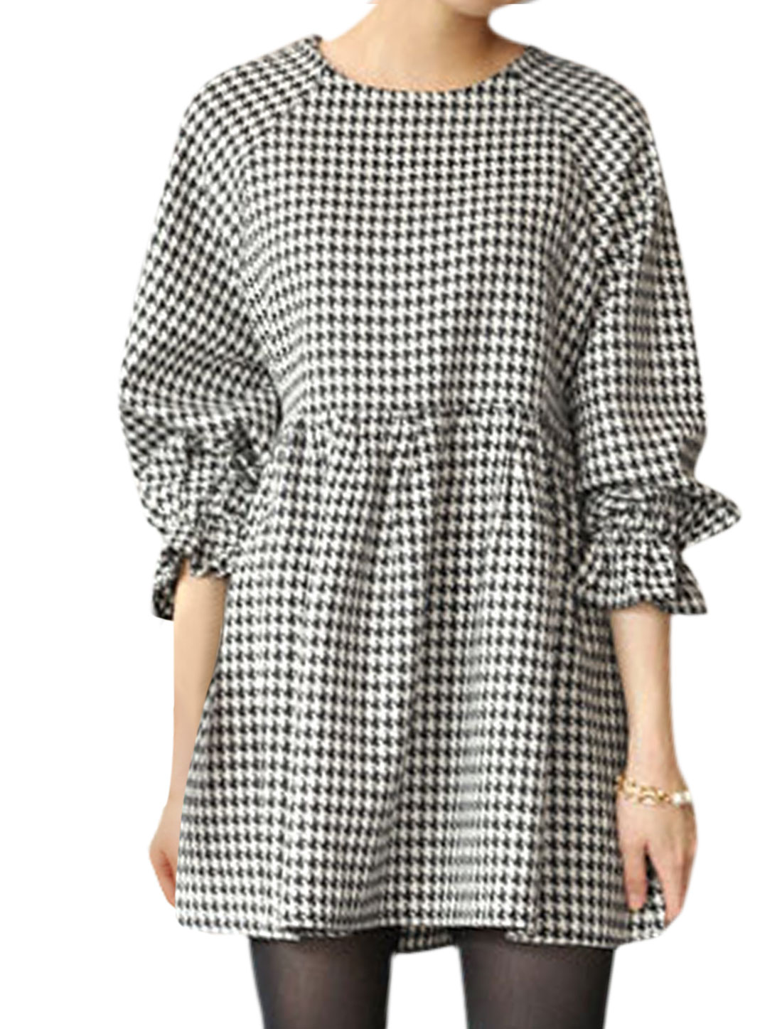 Women Long Sleeves Houndstooth Prints Flare Dress Black White XS