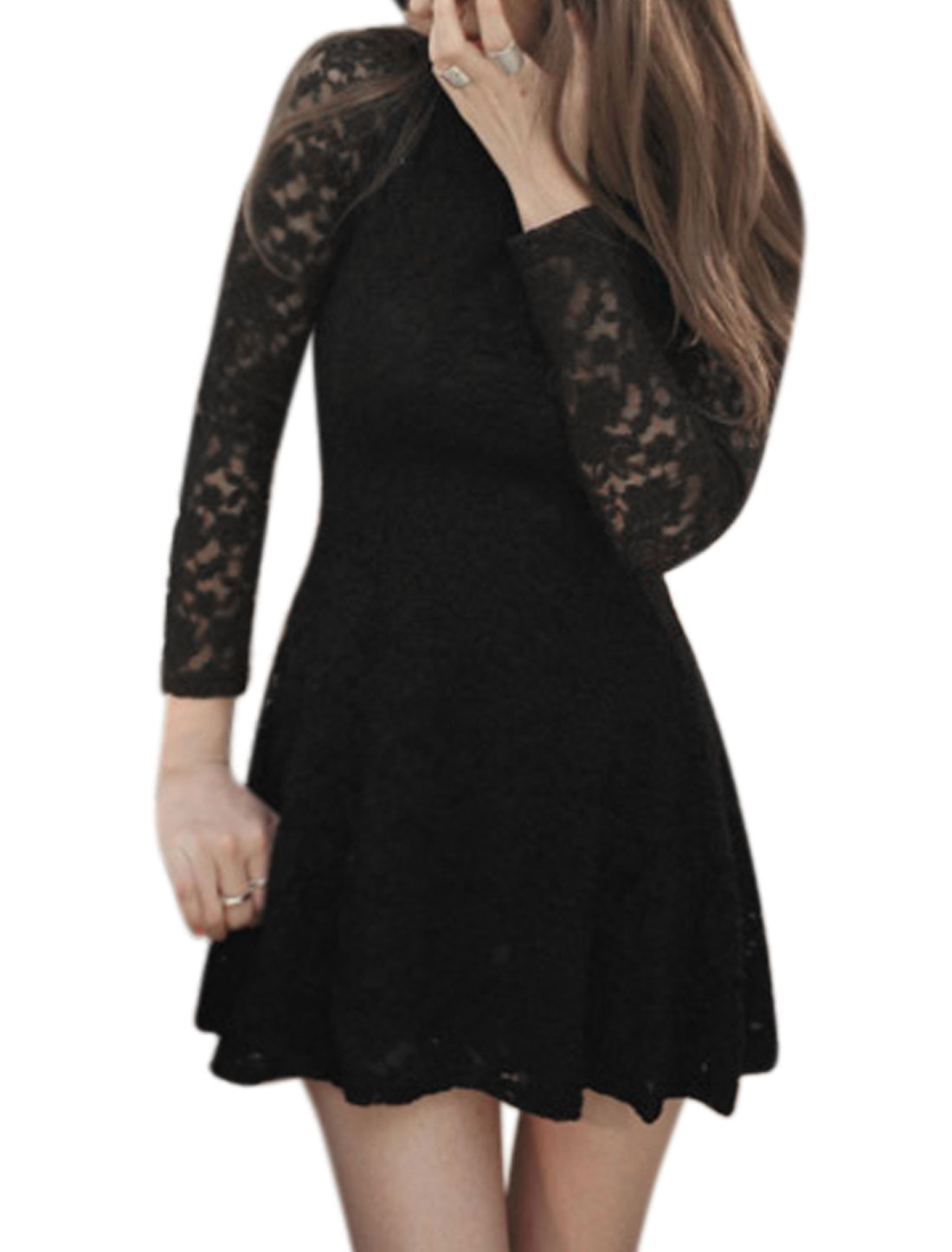 Women Round Neck Long Sleeves Slim Fit Lace A Line Dress Black M