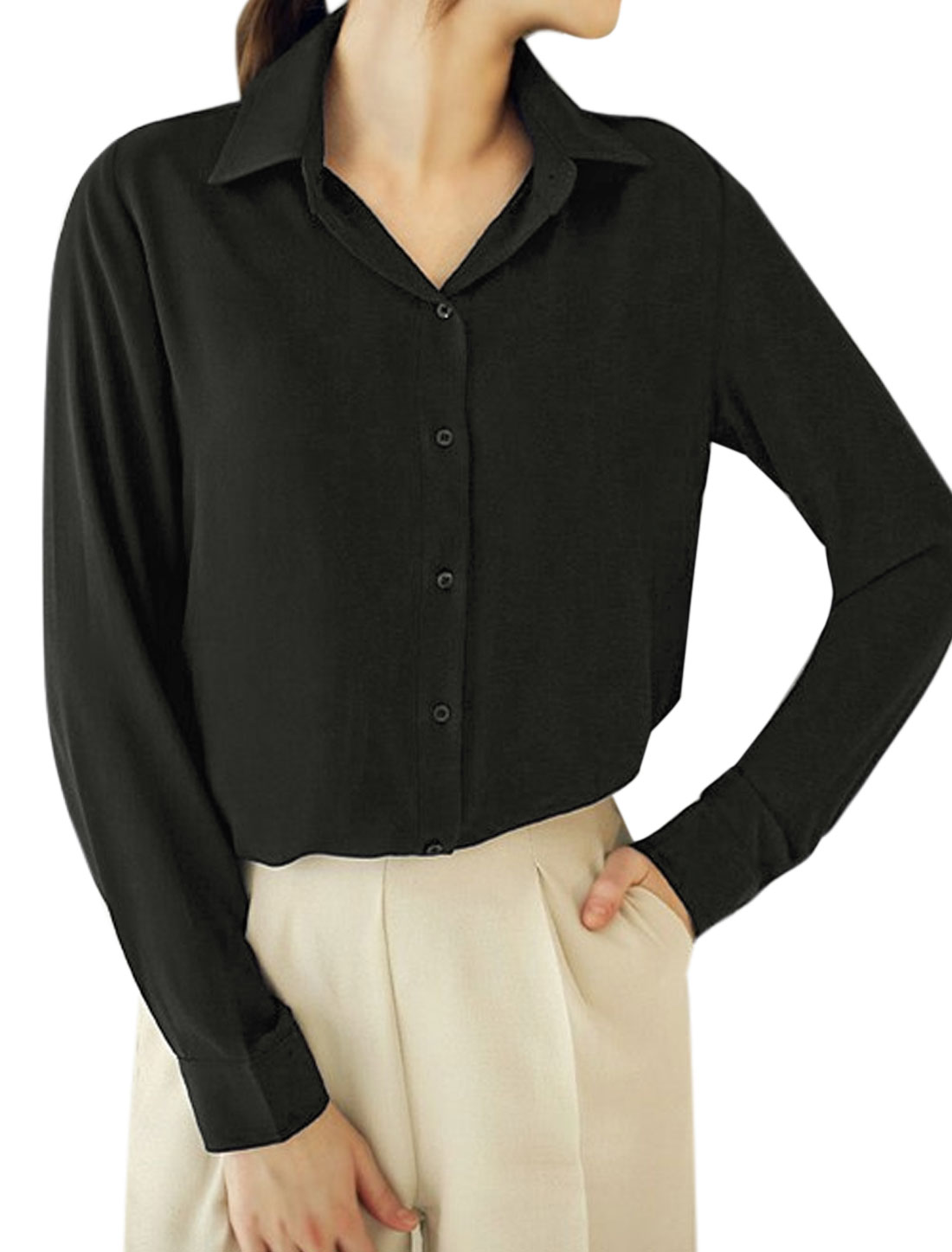 Ladies Point Collar Single Breasted High Low Hem Tunic Shirt Black S