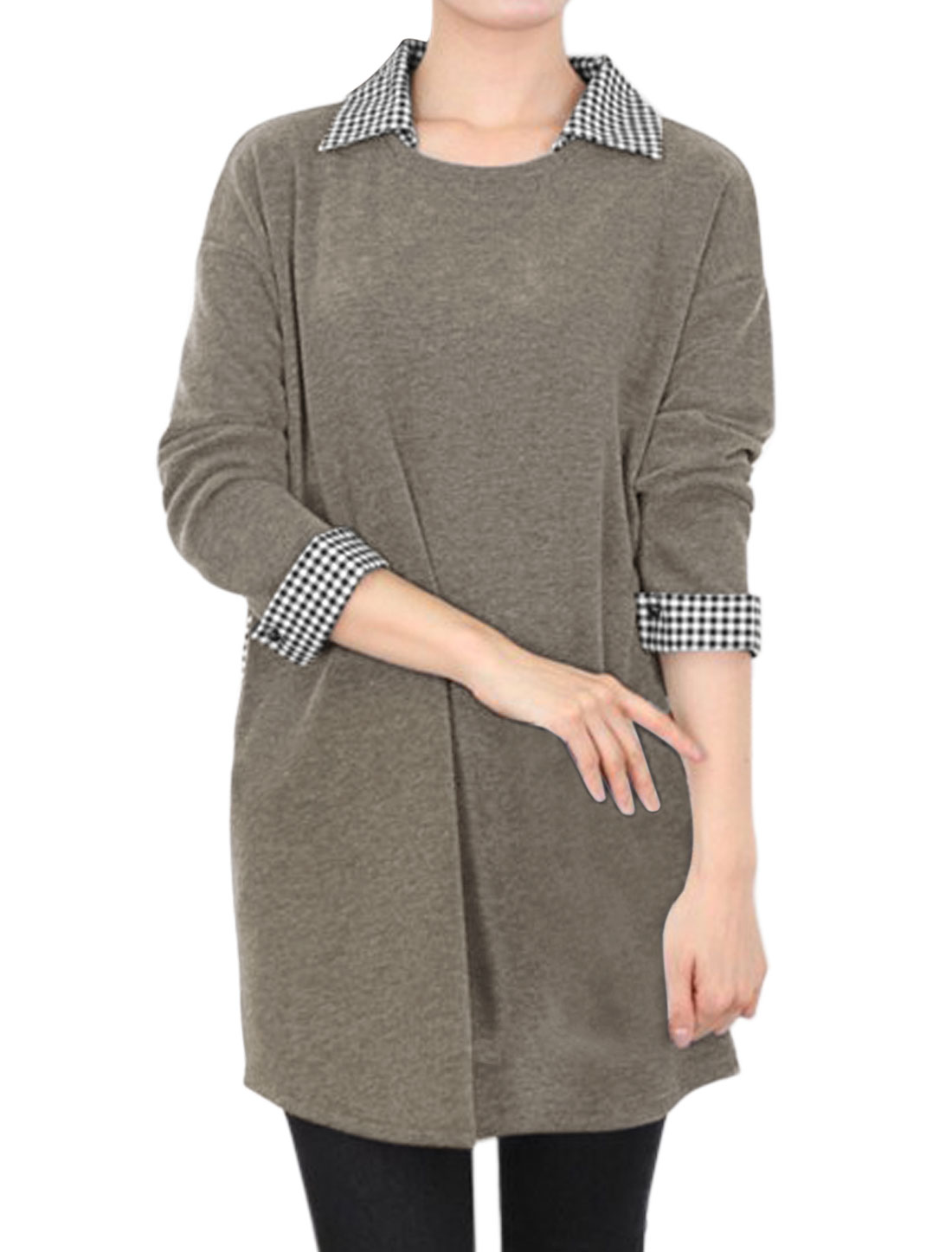 Women Plaid Collared Two Pockets Paneled Tunic Top Gray S