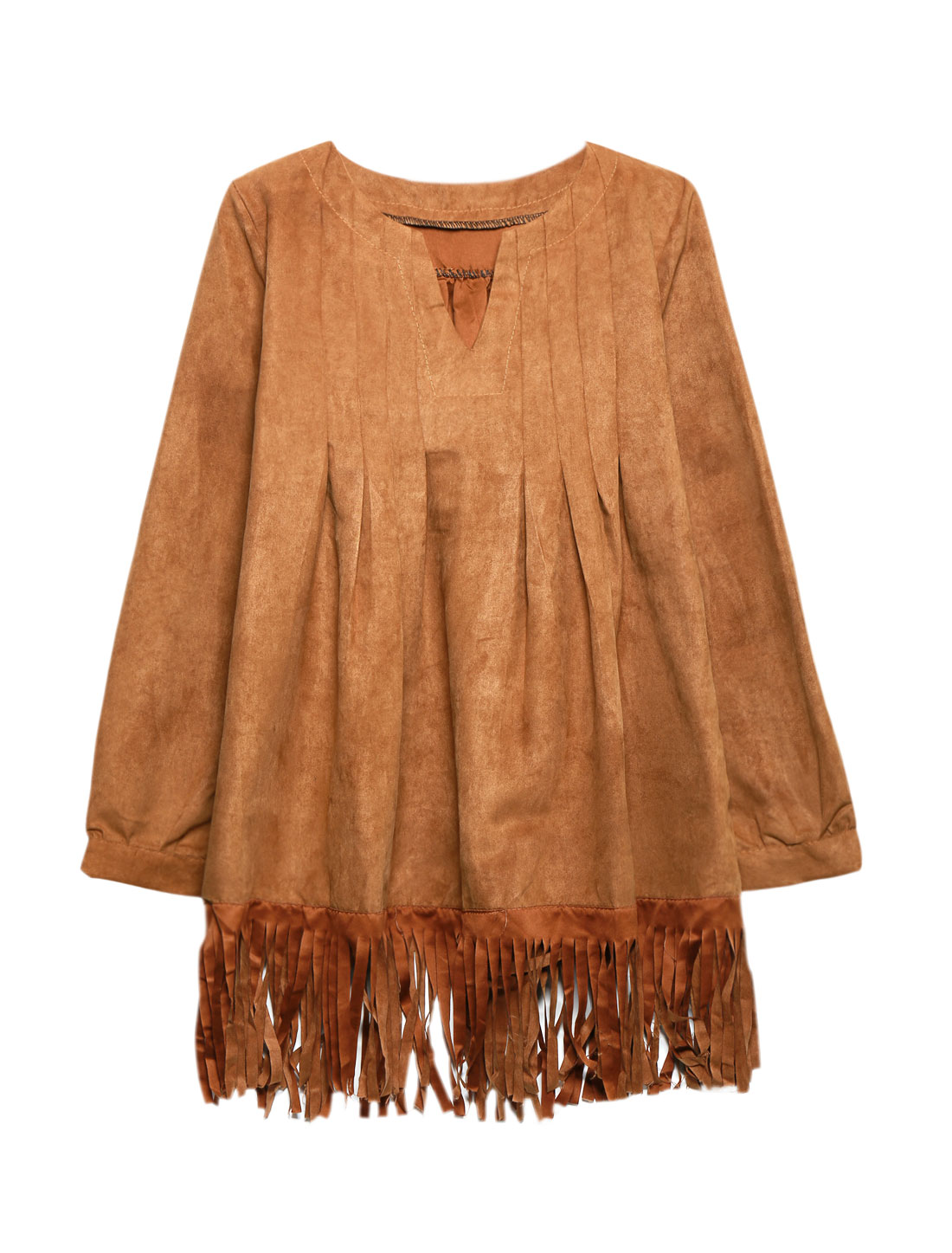 Women Split Neck Long Sleeves Pleated Tassels Loose Tunic Top Brown S