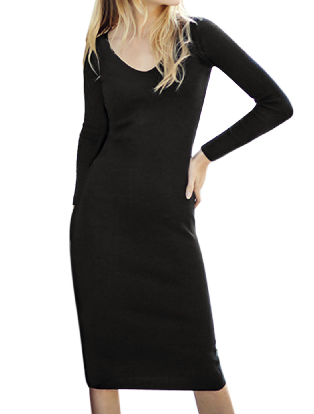 Women V Neck Long Sleeves Knee Length Bodycon Dress Black S