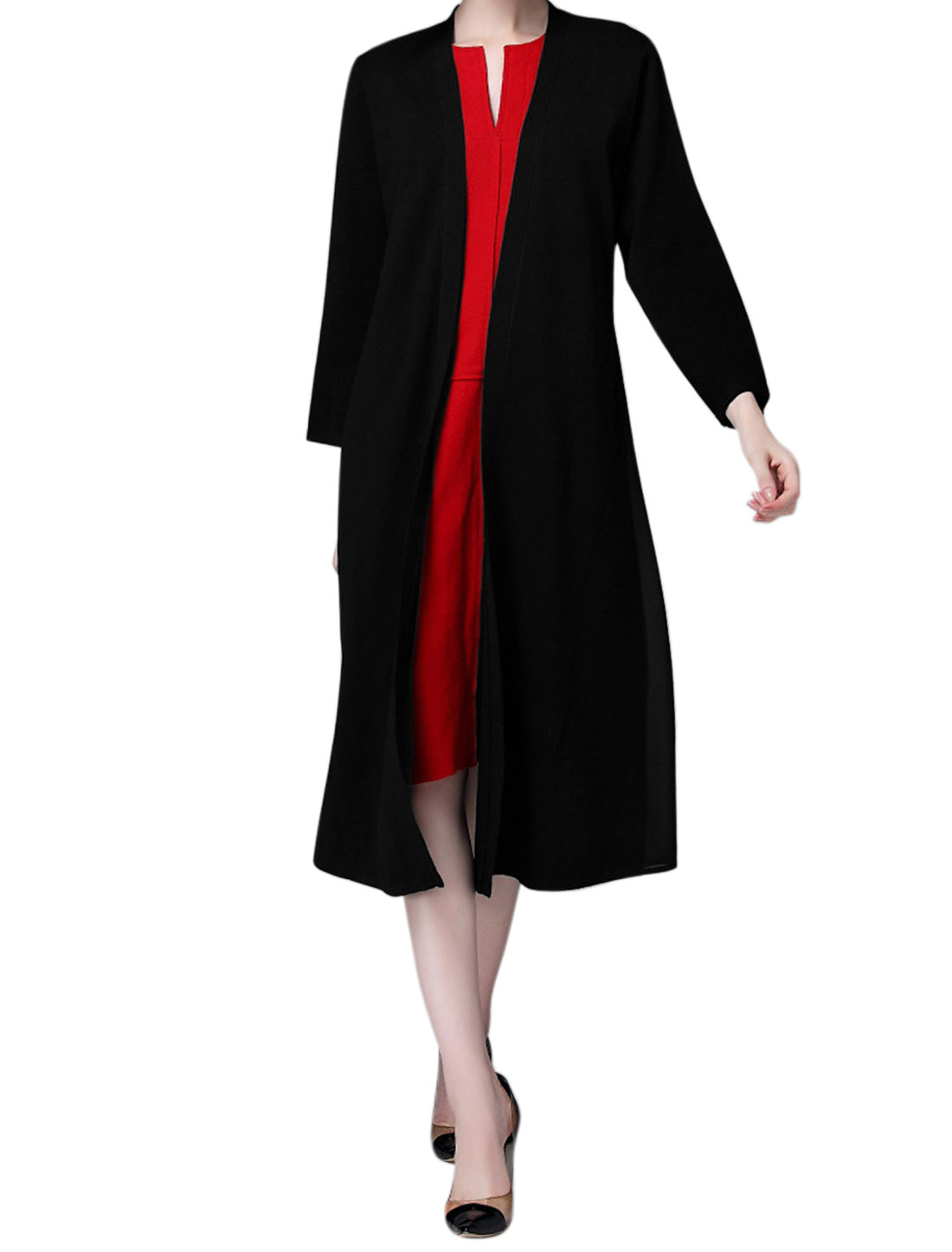 Women Long Sleeves Front Opening Chiffon Panel Cardigan Black M
