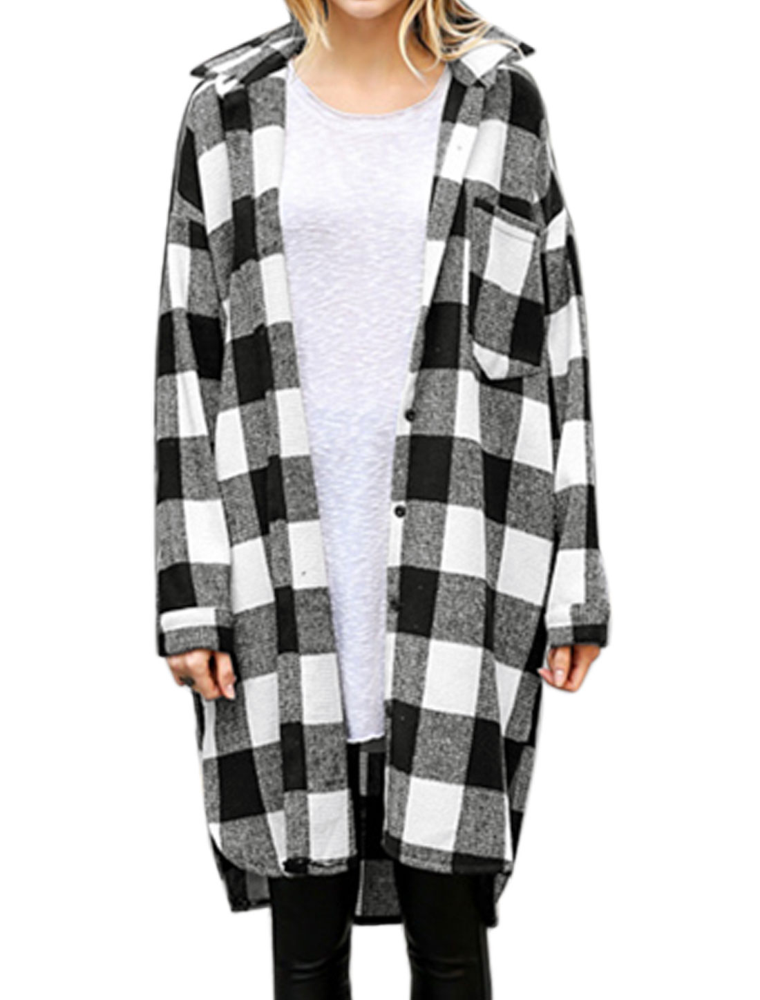 Women Long Sleeves Button Closure High Low Hem Plaids Tunic Shirt Black White M