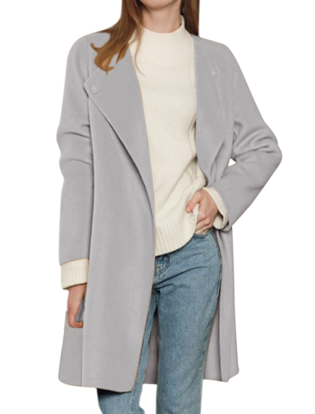 Women Convertible Collar Side Split Tunic Worsted Jacket Gray M
