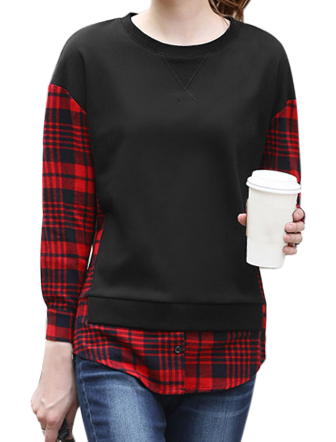 Lady Crew Neck Long Sleeves Plaids Shirtail Panel Design Top Black M