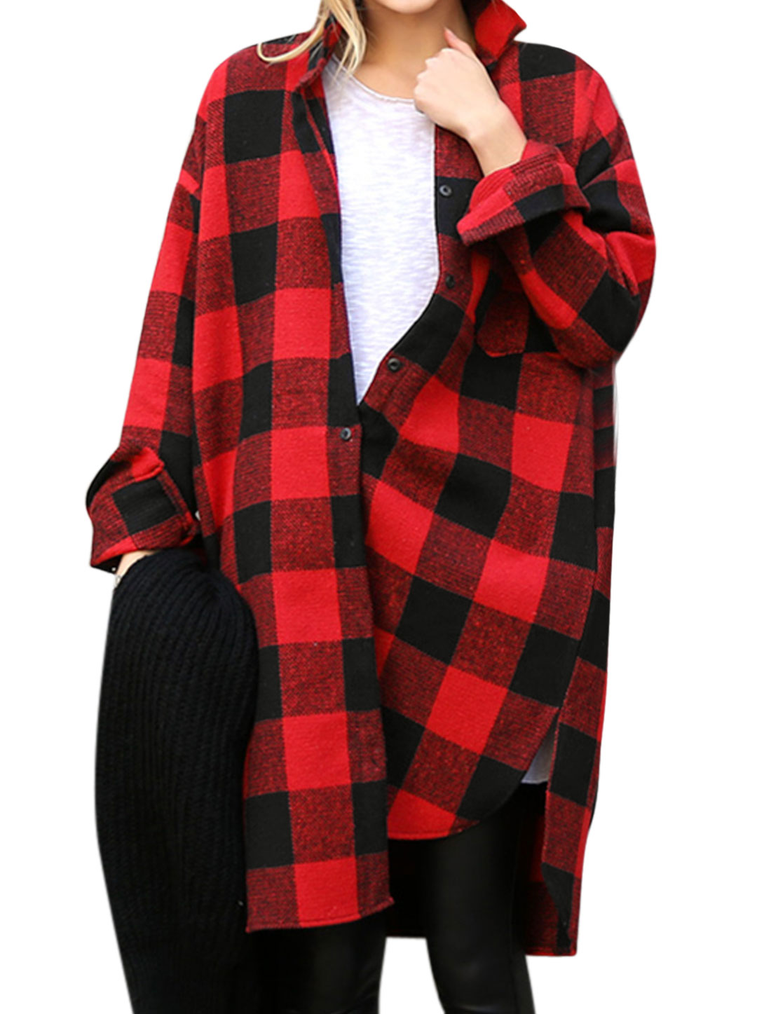 Women Batwing Sleeves Oversized Tunic Plaids Shirt Red Black S