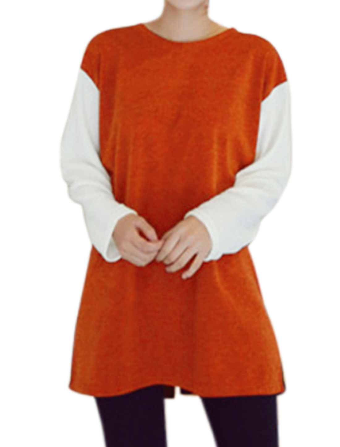 Women Crew Neck Long Sleeves Color Block Loose Knitted Tunic Shirt Orange Blue S