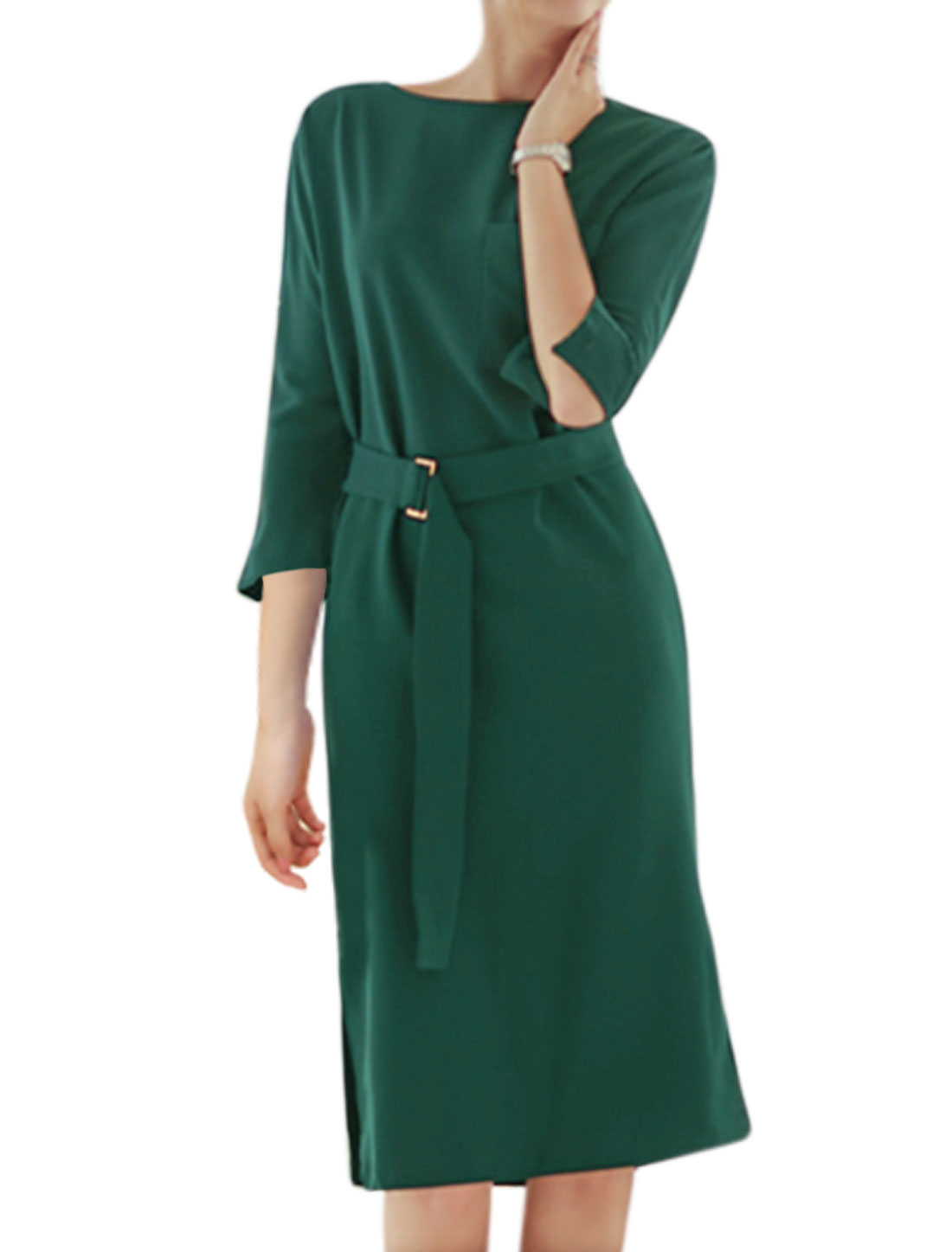 Women 3/4 Sleeves Split Sides Loose Dress w Belt Green M
