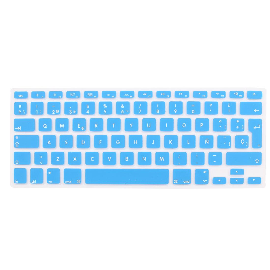 "Spanish Silicone Keyboard Skin Cover Blue for Apple Macbook Air 13""15""17"" EU"