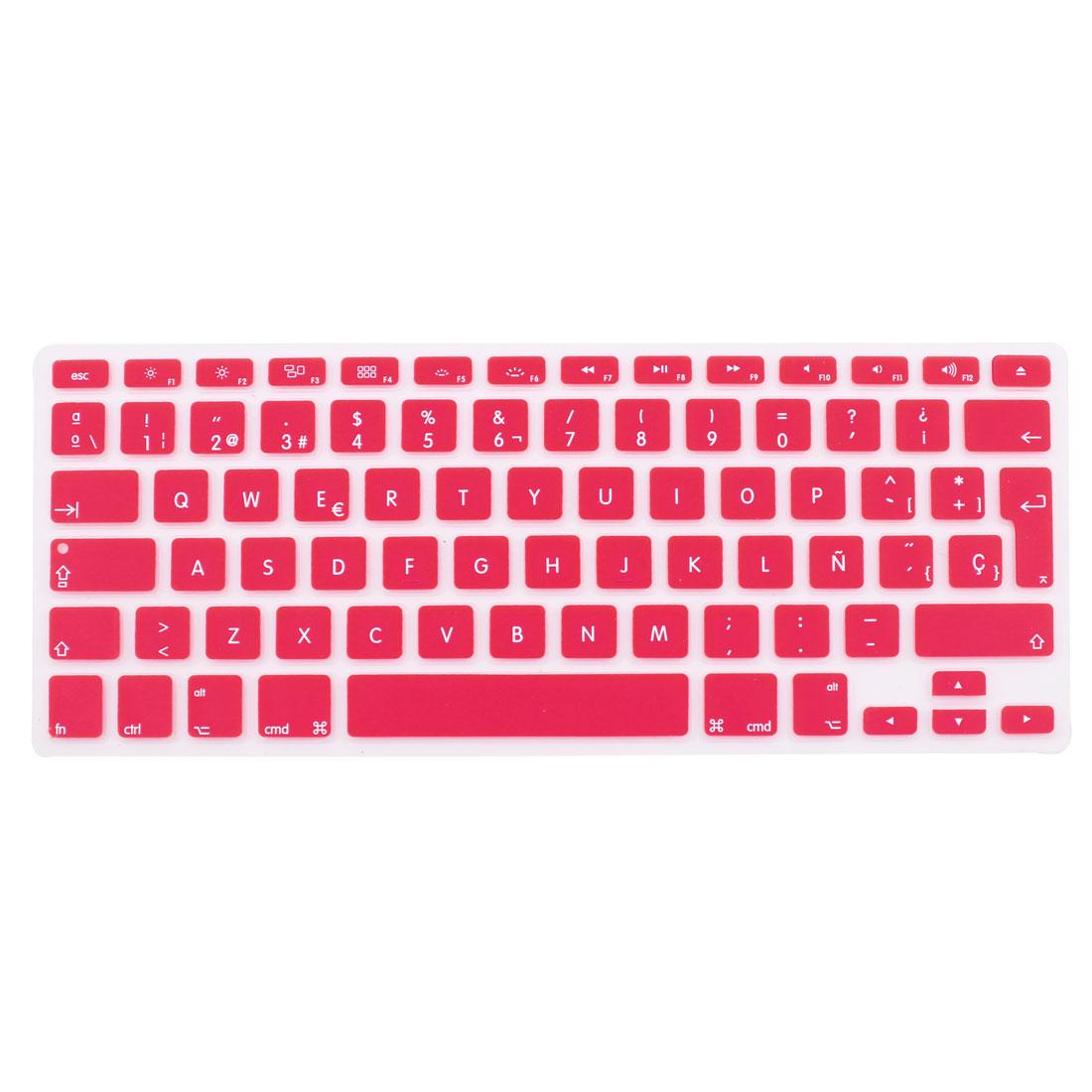 "Spanish Silicone Keyboard Skin Cover Pink for Apple Macbook Air 13""15""17"" EU"