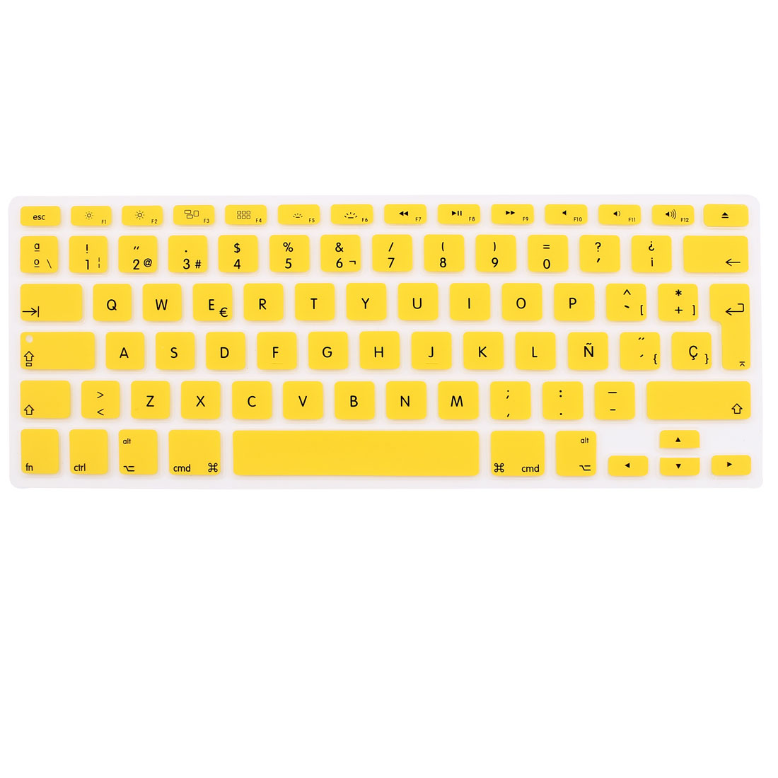 "Spanish Silicone Keyboard Skin Cover Yellow for Apple Macbook Air 13""15""17"" EU"