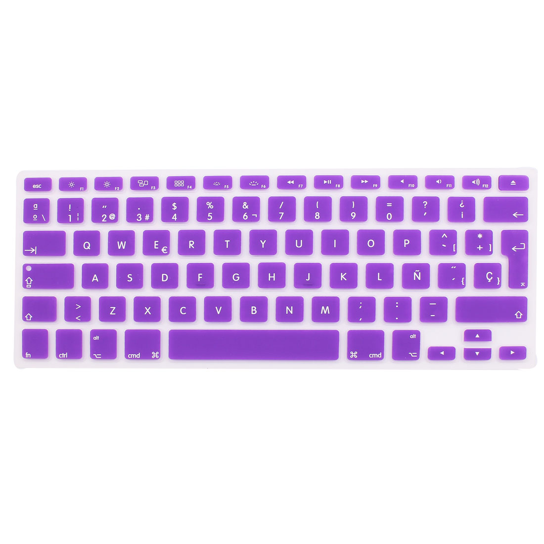 "Spanish Silicone Keyboard Skin Cover Purple for Apple Macbook Air 13""15""17"" EU"