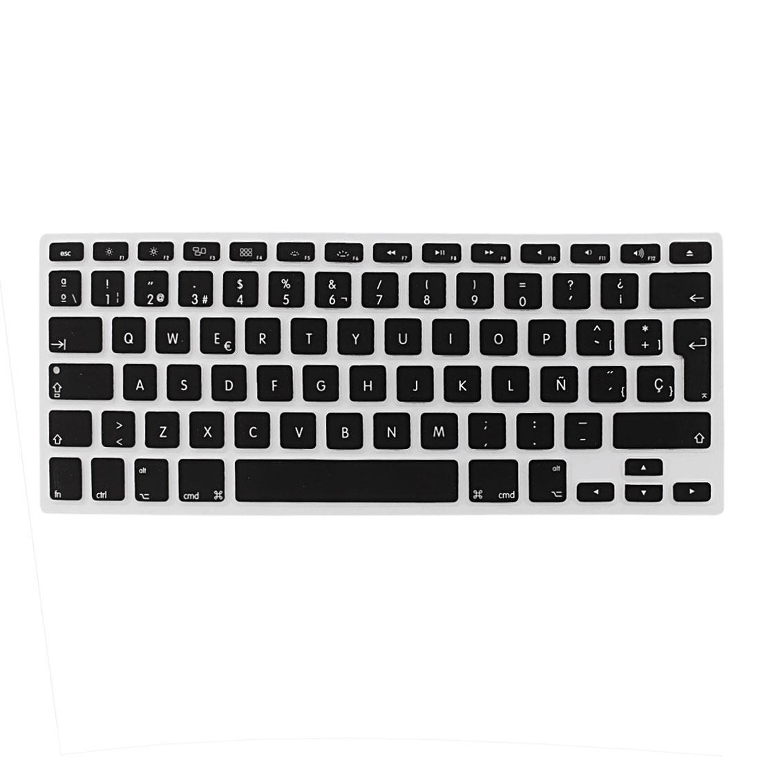 "Spanish Silicone Keyboard Skin Cover Black for Apple Macbook Air 13""15""17"" EU"