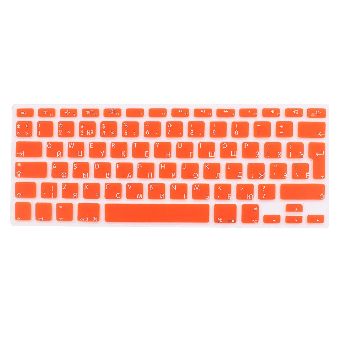 "Russian Silicone Keyboard Skin Cover Orange for Apple Macbook Air 13""15""17"" EU"