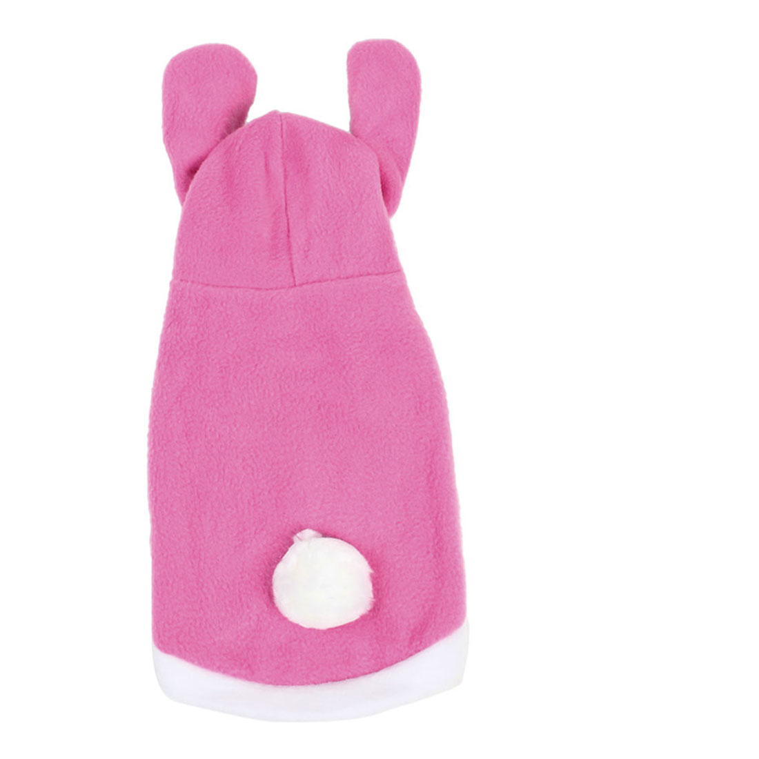 Pink White Rabbit Style Single Breasted Hooded Puppy Dog Clothes Vest Coat Size L