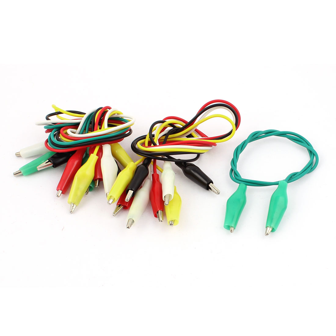 10pcs Assorted Color Plastic Insulation Boot Dual Ended Test Leads Alligator Clip Jumper Probe Cable 52cm