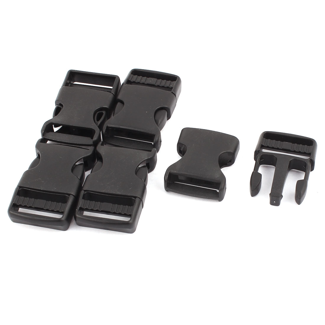 5pcs Black Plastic Packbag Side Quick Release Buckle for 2.5cm Width Strap Band