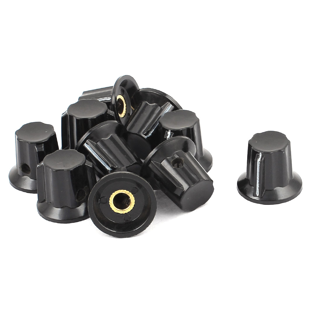 10pcs 6mm Shaft Insert Dia Black Potentiometer Volume Control Knobs Caps