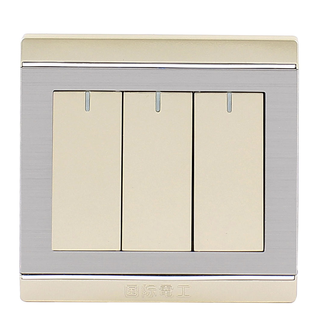 On/Off Press Button Type 3 Gang Wall Mount Switch Plate AC 250V 10A