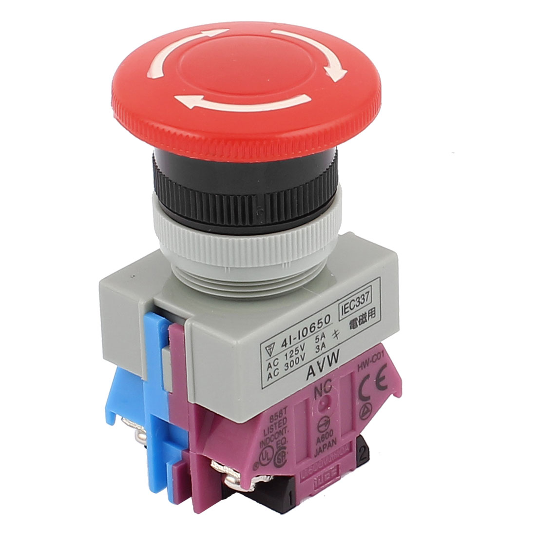 AC 125V 5A AC300V 3A 1NO+1NC DPST Latching Action Panel Mounted Mushroom Head Rotary Push Button Switch
