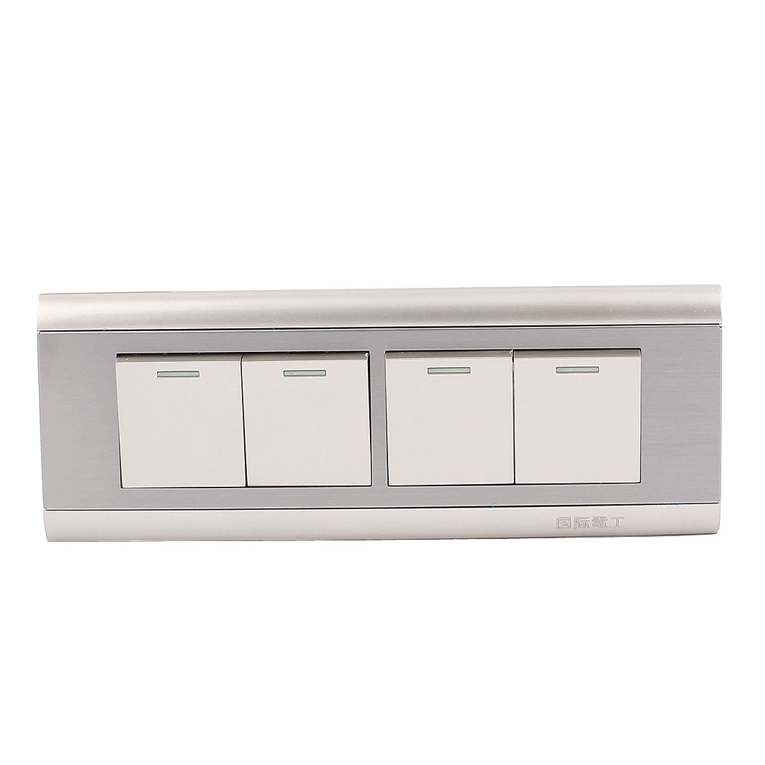 On/Off Press Button 4 Gang Wall Mount Switch Plate AC 250V 10A