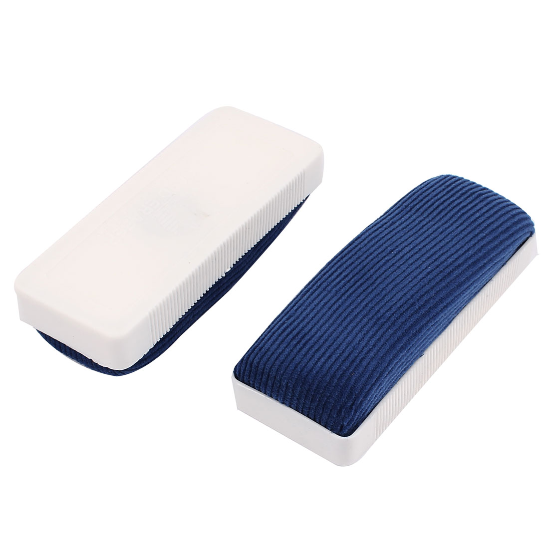2pcs White Plastic Housing Blue Velvet Blackboard Chalkboard Whiteboard Cleaner Eraser Brush